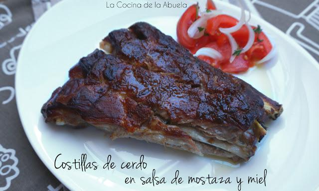 Costillas cerdo salsa mostaza miel receta horno asado