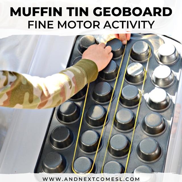 Muffin tin geoboard fine motor activity