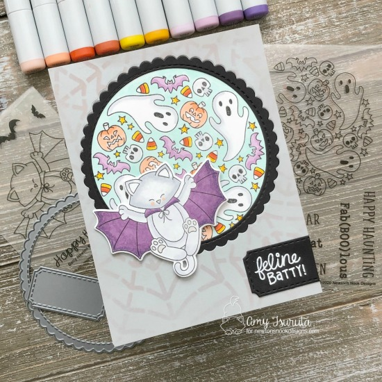 Feline Batty Card by Amy Tsuruta | Batty Newton Stamp Set, Spooky Roundabout Stamp Set and Spiderweb Stencil by Newton's Nook Designs #newtonsnook