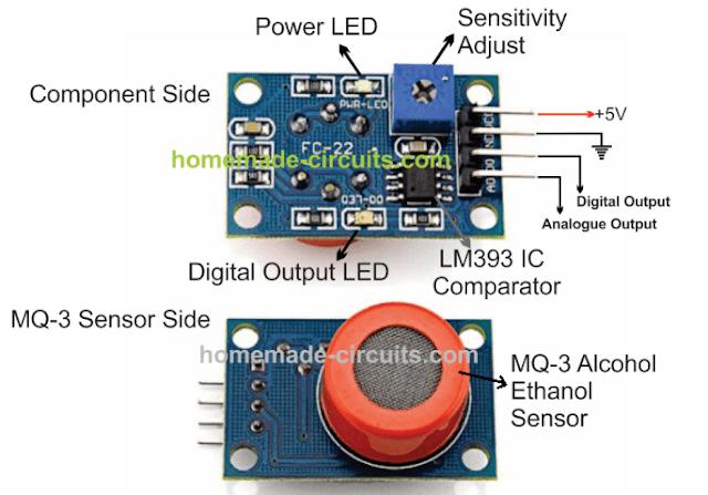 MQ-3 sensor Module component pinout details and preset working