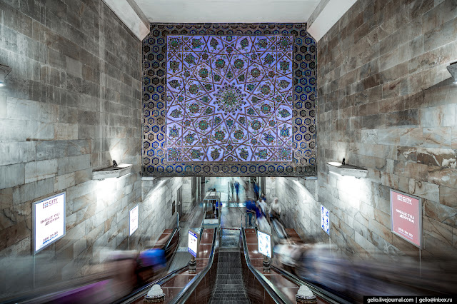 "7.The descent to the station ""Alisher Navoi"" is decorated with a huge panel with geometric patterns. The interior of the station was created by Uzbek artists."