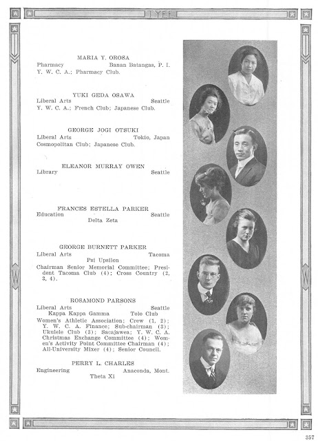Maria Orosa (top) photo in the 1918 University of Washington yearbook.  Image source:  University of Washington Digital Library.