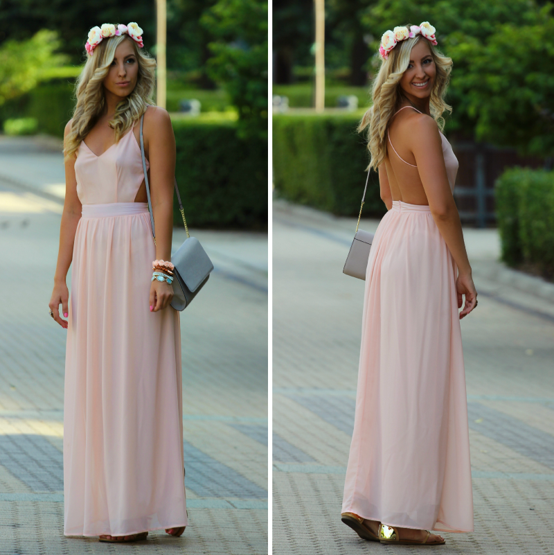 Wearing a Blush Cutout Dress with Flowers in Hair for a Summer Wedding as a Guest