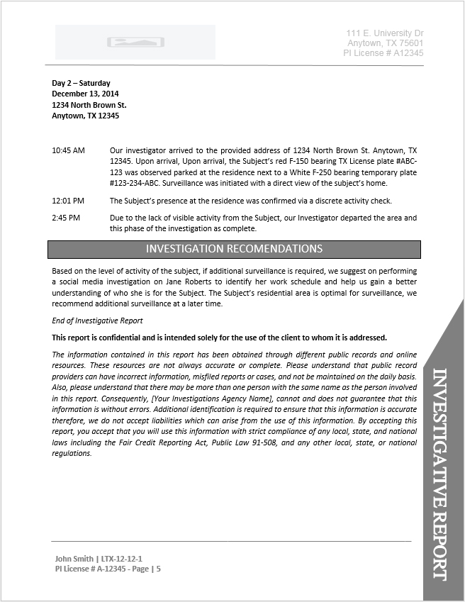 Private Investigator Report Templates Modern Resume Template Ideas