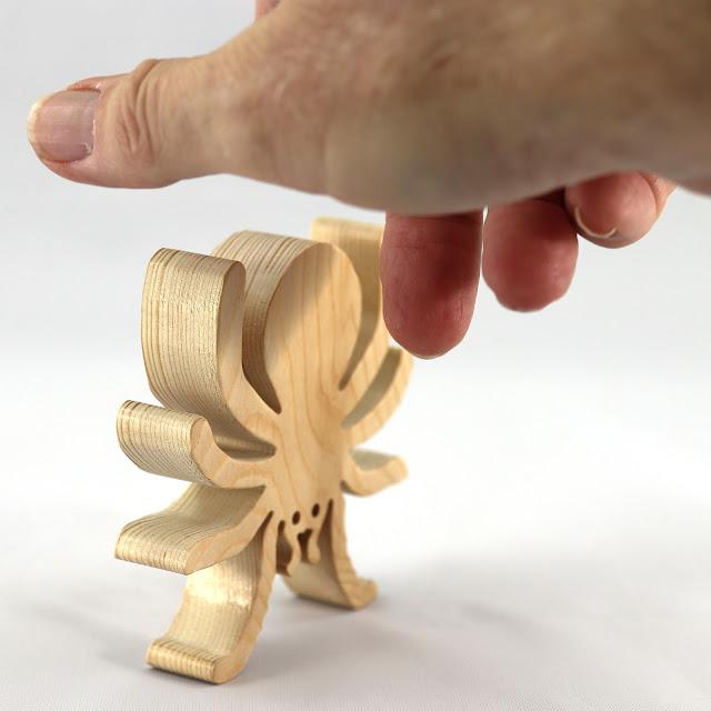 Handmade Wood Toy Halloween Spider Cutout Animal Toy