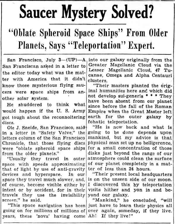 'Oblate Spheroid Space Ships' From Older Planets, Says 'Teleportation' Expert   UFO CHRONICLE – 1947