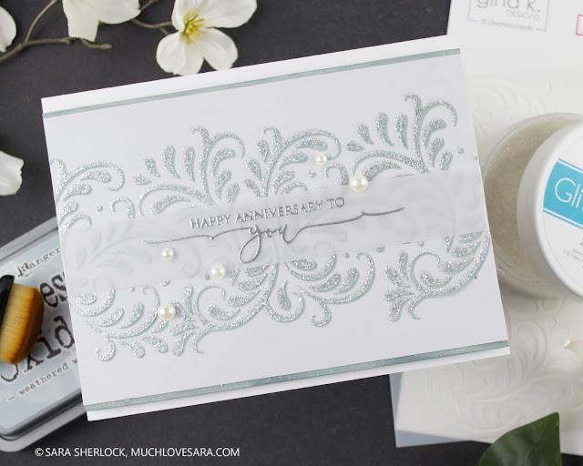 Handmade card, stenciling, glitter, glitz gel, inking, distress oxide ink, anniversary card, elegant card, diy anniversary