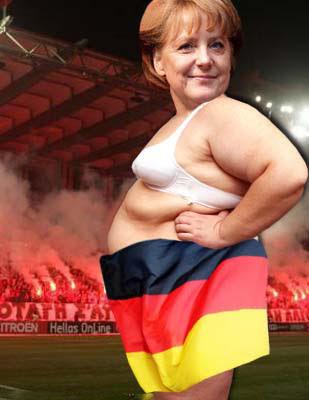 Lustiges Bild Angela Merkel in Deutschland Flagge gehüllt