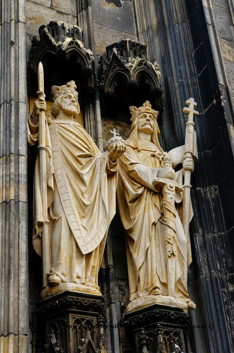 Statues at the door, Cologne Cathedral, Germany