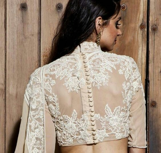 1db76b669b30b Lace back blouse designs are your best friend. An embroidered lace gives  regal touch and extra charm to a blouse pattern.