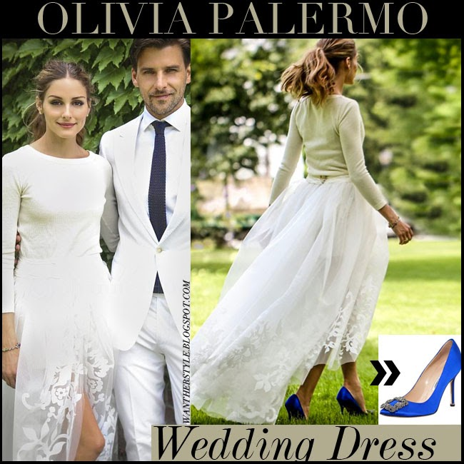 Olivia Palermo In Her Wedding Dress Carolina Herrera Cream Sweater Shorts And White Tulle Skirt