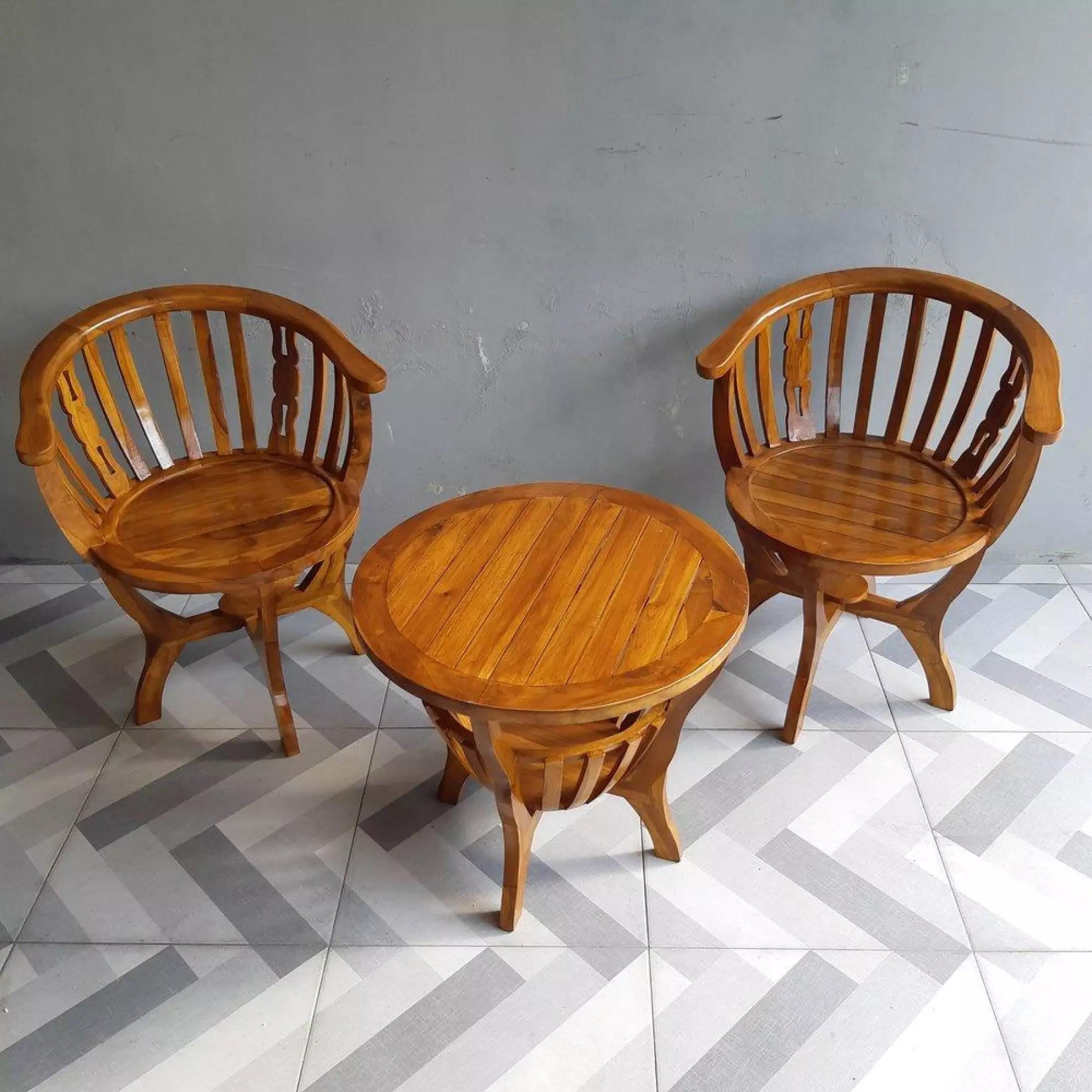kursi teras kayu jati 2 dudukan