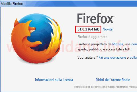 Firefox popup informazioni versione installata