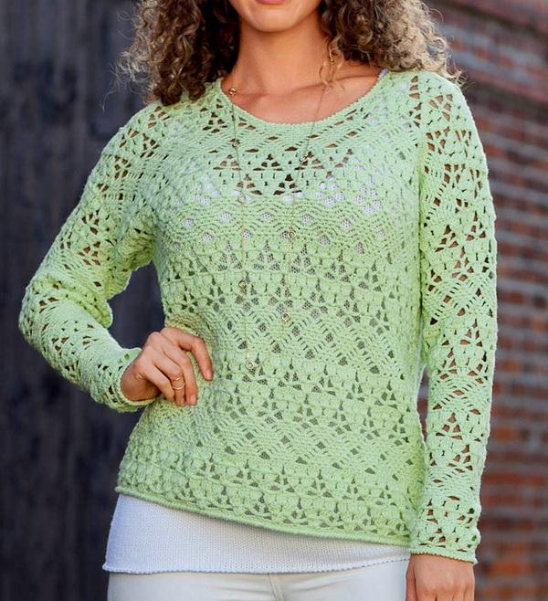 Simple Crochet Pullover Sweater For Women