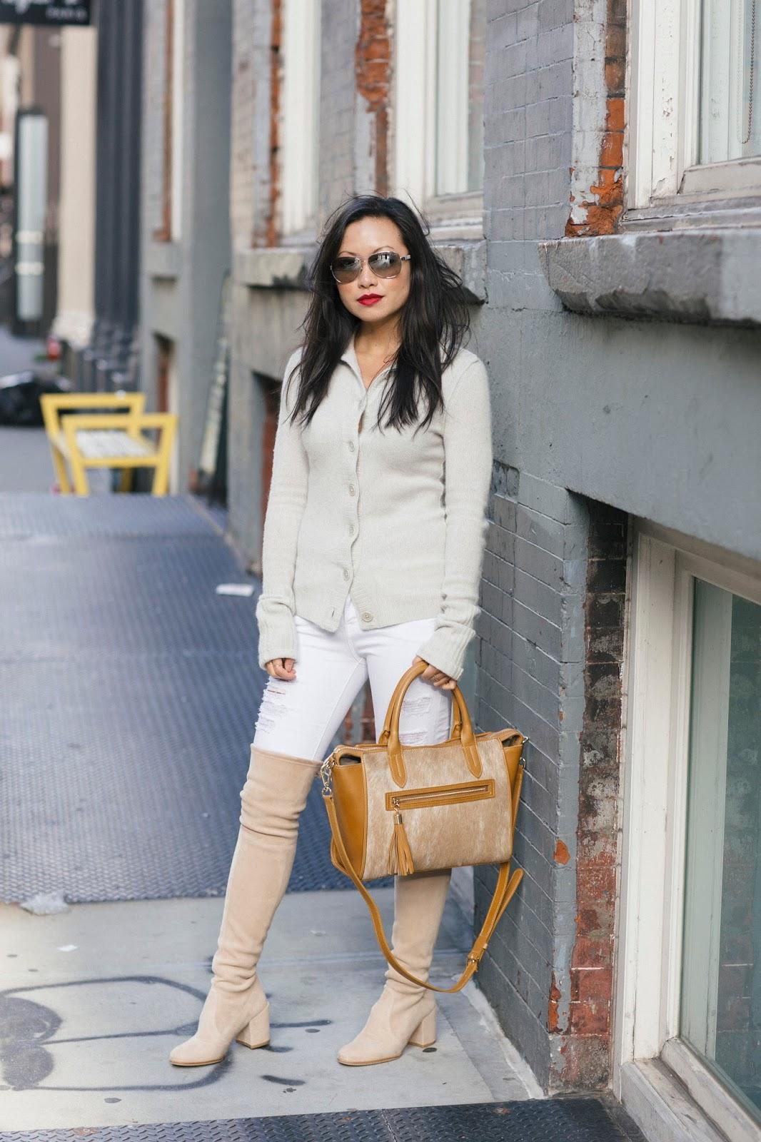 winter white frame denim stuart weitzman tieland boots gigi new york calf hair satchel