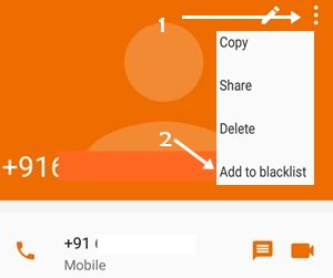 first click three dot and click add to blacklist