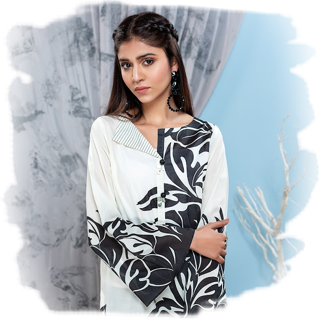 Limelight volume 2 Black & White printed lawn shirts stitched