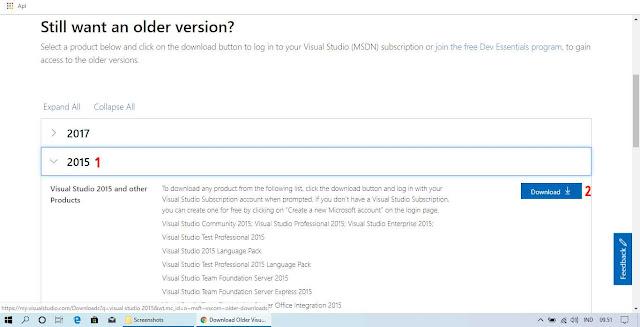Pilih Versi Tahun Visual Studio