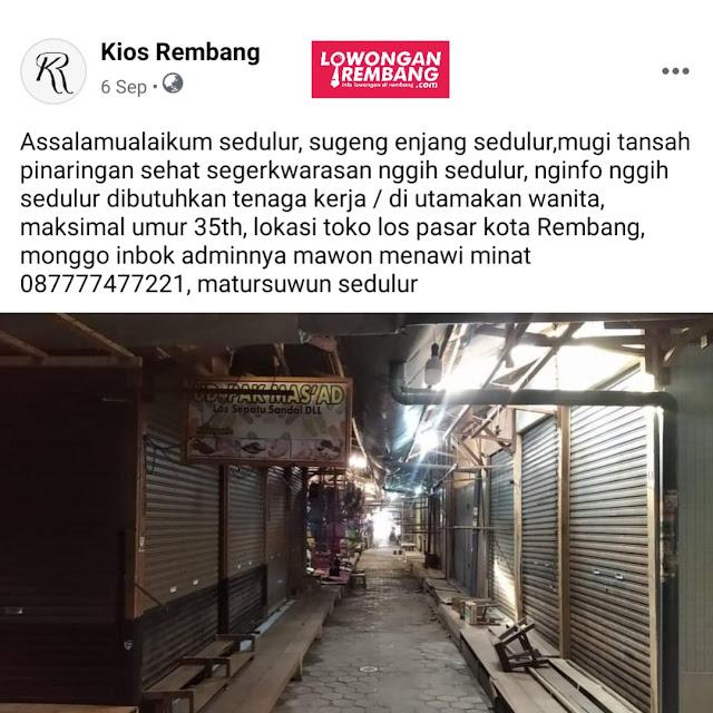 Lowongan Kerja Karyawati Kios Rembang