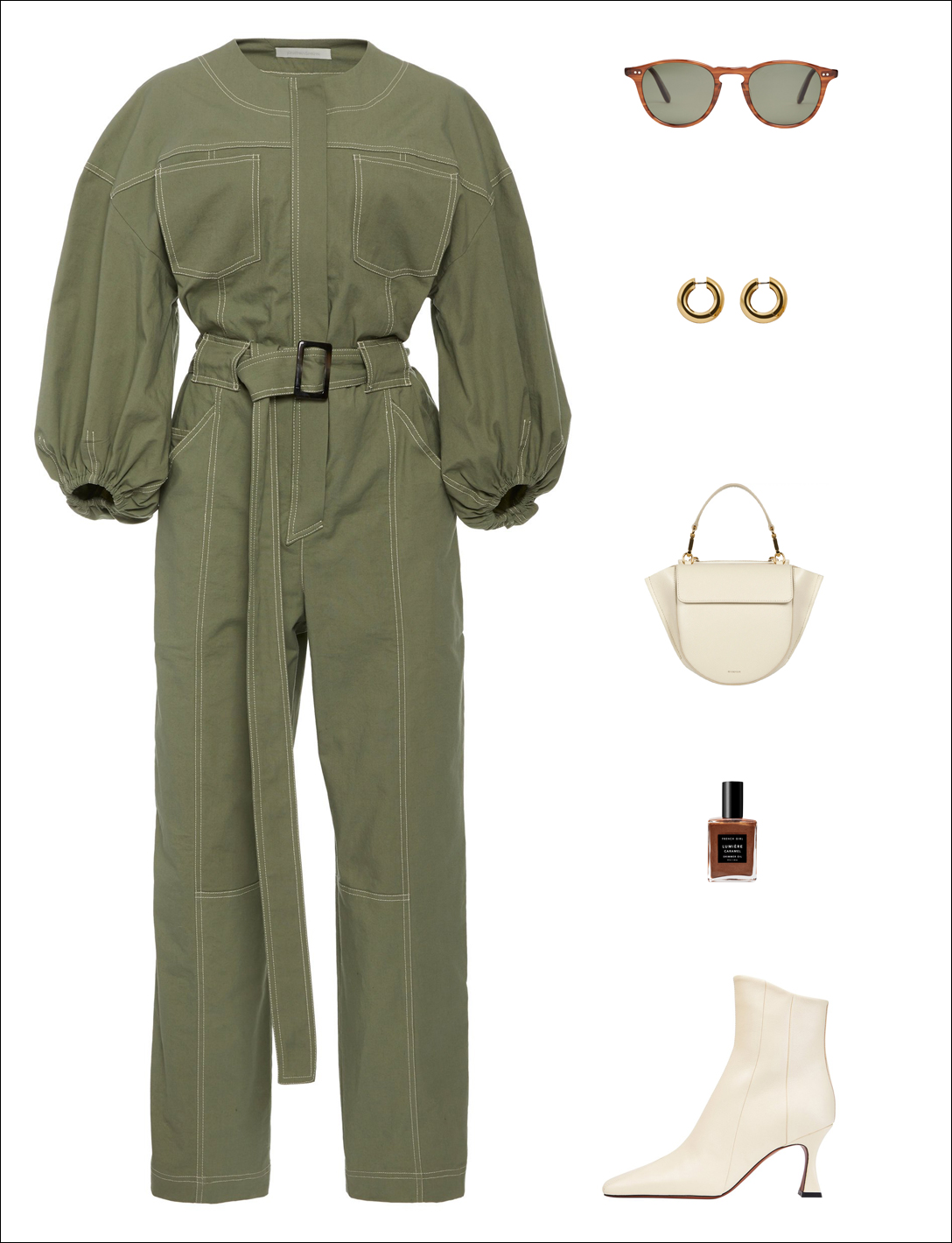 How to Wear a Statement Jumpsuit for Fall — Green Puff-Sleeve Jumpsuit, Hoop Earrings, White Mini Bag, and White Ankle Boots