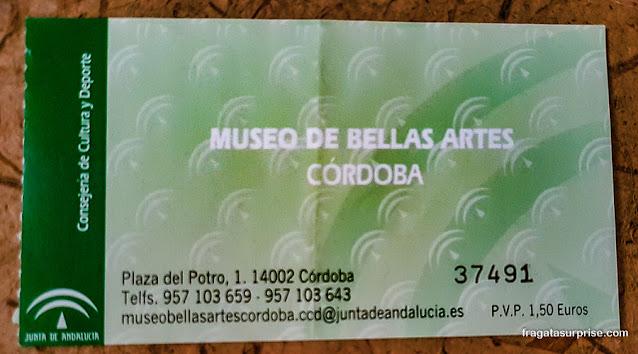 Ingresso para o Museu de Belas Artes de Córdoba, Espanha