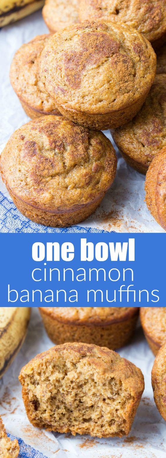 One Bowl Cinnamon Banana Muffins (Whole Wheat + Healthy)
