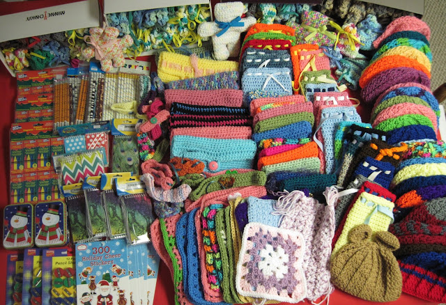 Chelle's Caybees' donation of handcrafted crochet fillers for Operation Christmas Child shoebox packing.