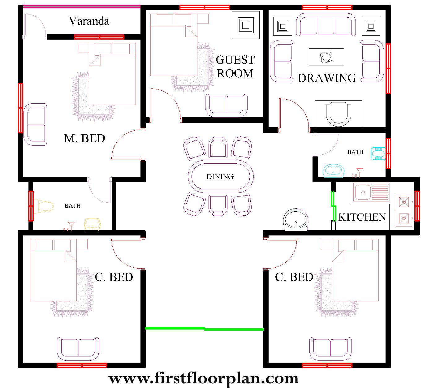 40x30 house plans, 40x30 Autocad floor plan