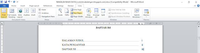Cara membuat titik-titik menggunakan tabulasi dalam daftar isi