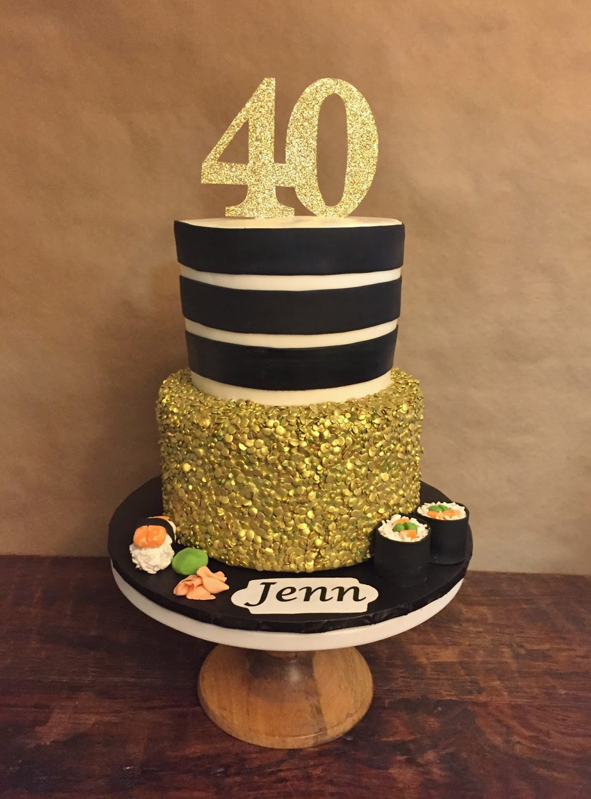Cakes By Mindy Sushi And Sequins 40th Birthday Cake 6 Quot Amp 8 Quot