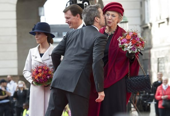 Queen Margrethe, Prince Frederik, Princess Mary, Prince Joachim, Princess Marie, Princess Benedikte at Danish Parliament