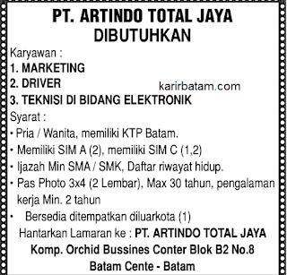 Lowongan Kerja PT. Artindo Total Jaya