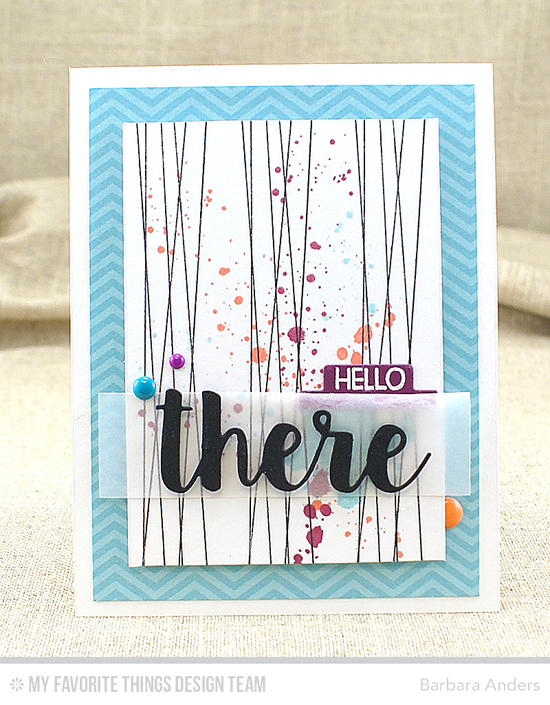 Hello There Card by Barbara Anders featuring the Distressed Patterns, Forest Friends, and Lisa Johnson Designs Whimsical Wishes stamp sets and the Hello There and Blueprints 15 Die-namics #mftstamps
