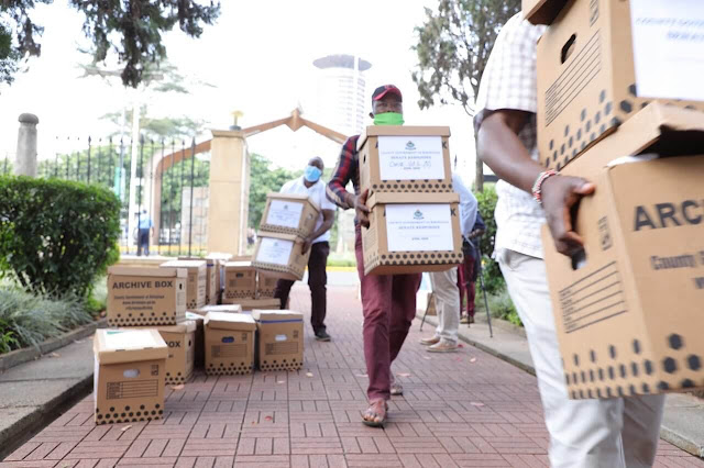 Kirinyaga Governor Anne Waiguru Case files boxes presented at the Senate