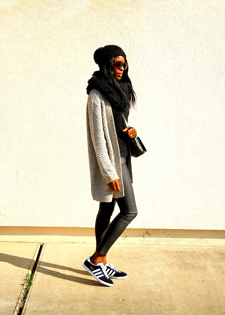 gilet maille pimkie blog mode tenue casual adidas gazelle