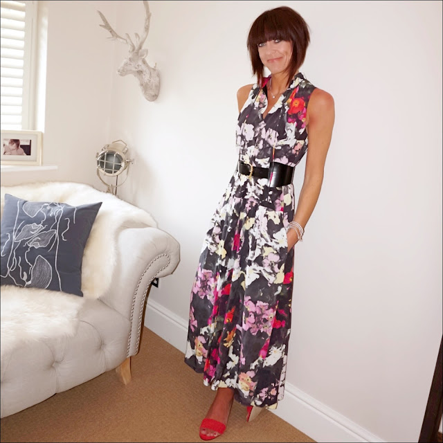 My Midlife Fashion, and other stories floral maxi dress, and other stories wide waist buckle belt, marks and spencer wide fit wedge heel closed toe espadrilles