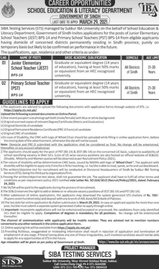 Latest PST & JST Jobs in Education Department Sindh Through IBA Testing Service Feb 2021