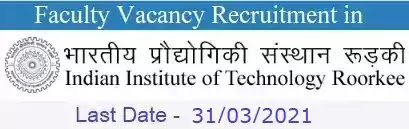 IIT Roorkee Faculty Vacancy Recruitment 2021
