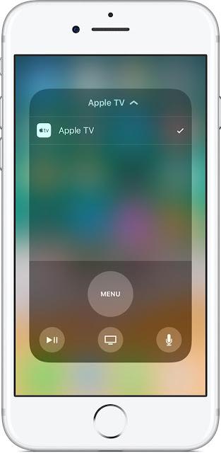 Apple TV Remote في مركز التحكم Control Center في iOS 11