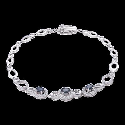 Lắc tay Vàng trắng 14K đính đá Sapphire PNJ SPXMW000015