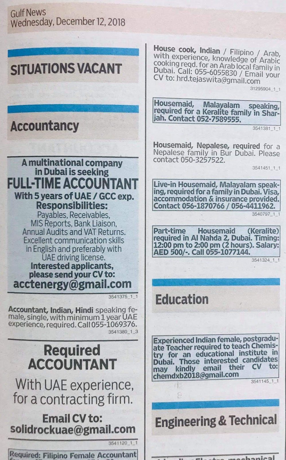 Various Position Required for UAE Local Hiring Jobs Khaleej Times