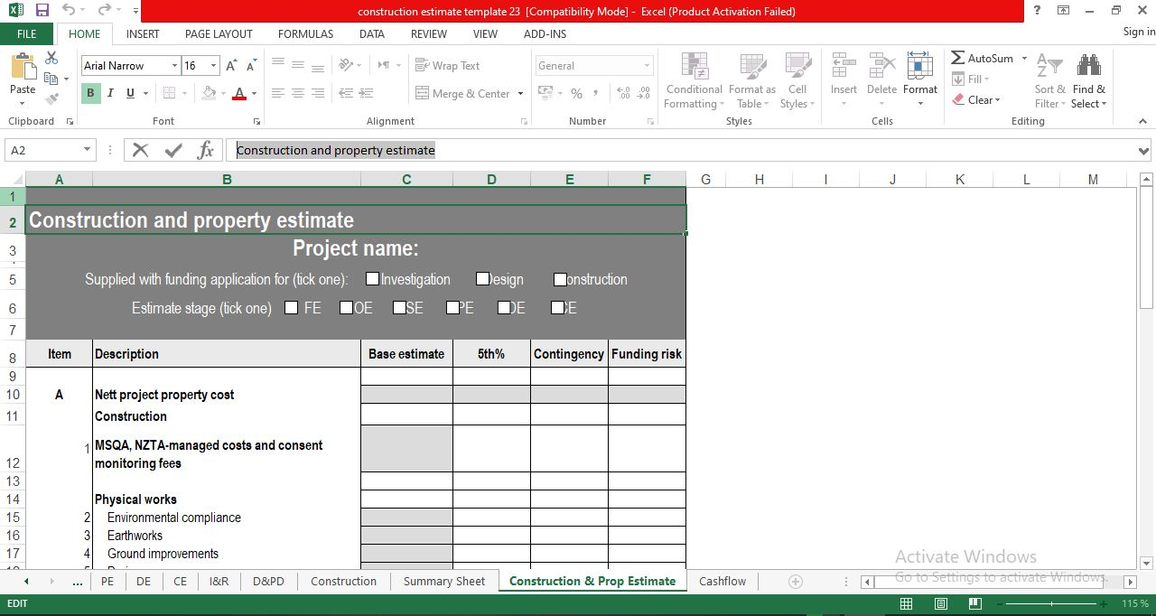 Free Construction Cost Estimate Template in Excel