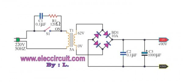 power supply for circuit 100W otl power amplifier
