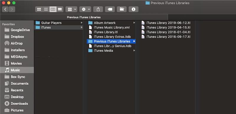 Macos'ta iTunes Kitaplık Dosyaları