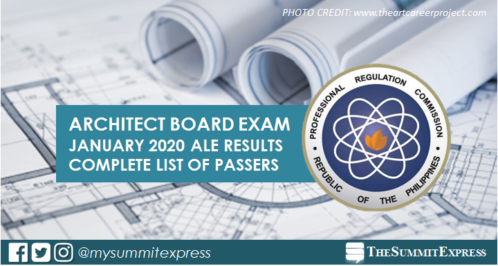 RESULTS: January 2020 Architect board exam ALE list of passers, top 10