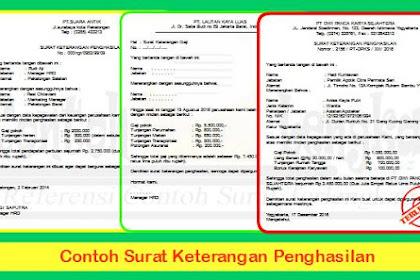 Contoh Surat Keterangan Penghasilan Dari Kelurahan