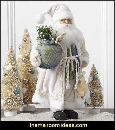 coastal santa  Coastal Christmas decorating theme - coastal Christmas decor - beach christmas  - Beach Christmas Decorations  - seaside decor - coastal ornaments - beach themed Christmas decorations - beach themed christmas tree -  sea themed ornaments -  nautical accents - beach themed ornaments - coastal Christmas tree skirts - beach & seaside decorations - nauticall Christmas decor