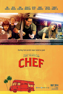 Chef poster - cast in a food truck on a yellow background