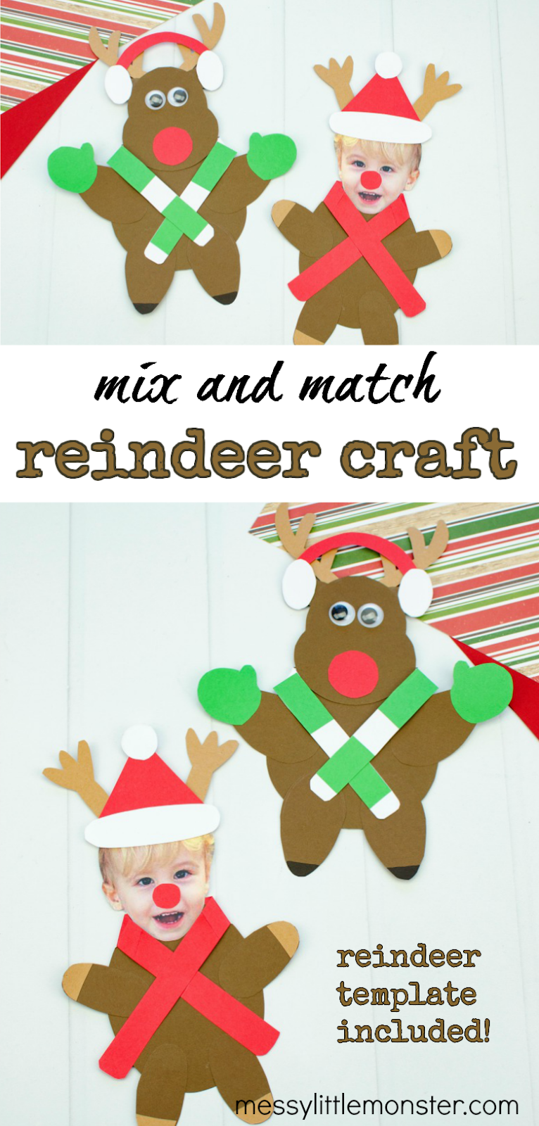 Mix and match paper reindeer craft for kids. Printable reindeer template included.