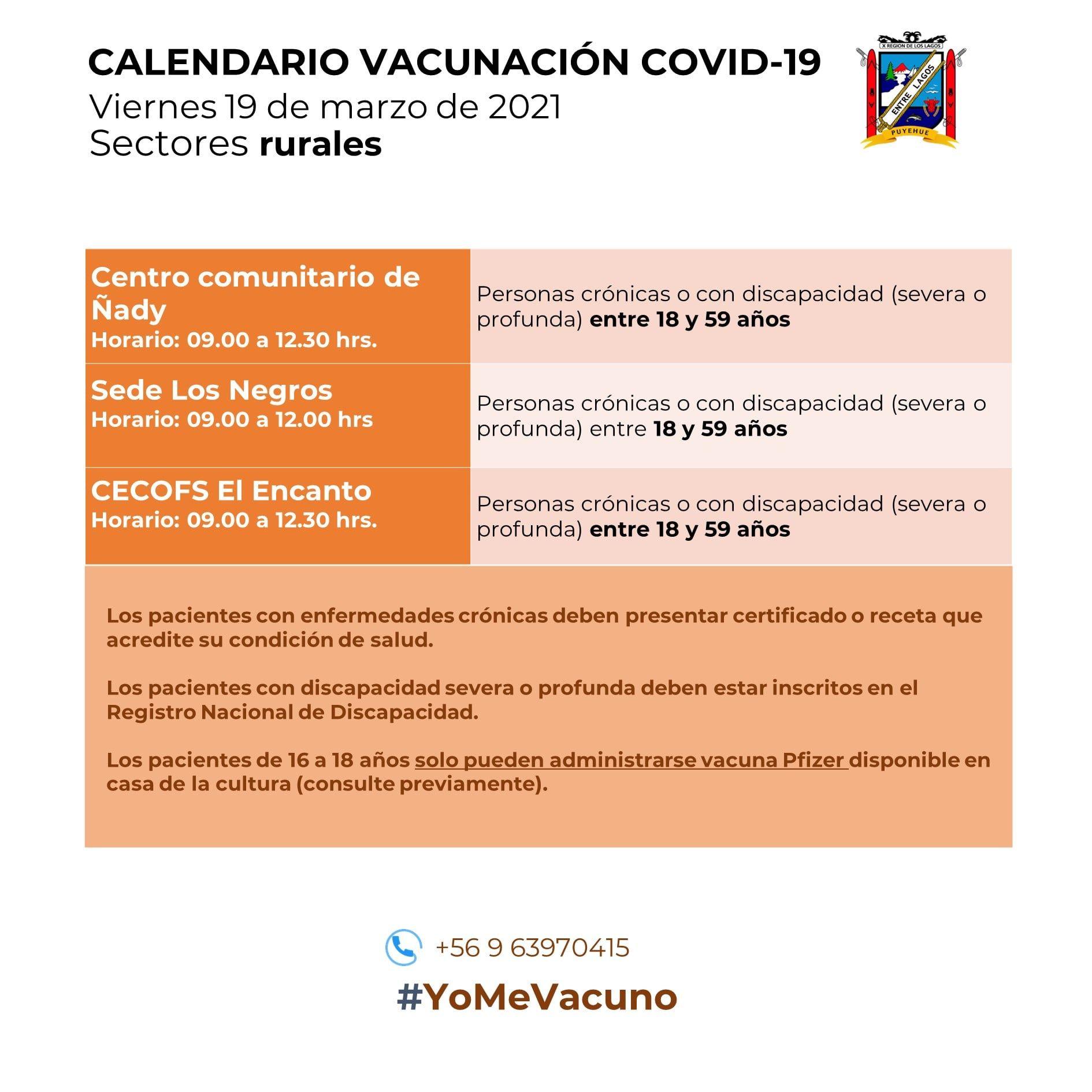 Calendario de Vacunación Sector Rural